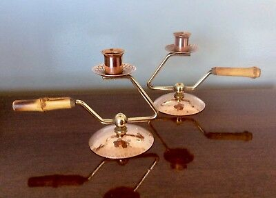 Vintage Mid Century Modern Hammered Copper Brass Chamber sticks Candle Holder