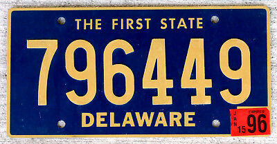Delaware Raised Riveted Lettering License Plate with a 1996 Sticker
