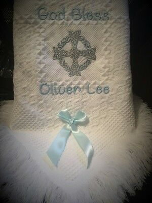 Personalised christening/new baby etc shawl CELTIC CROSS   Pink OR Blue