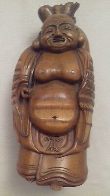 Chinese hand carved bamboo root Buddha statue 19thC