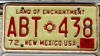 1972 Red on White New Mexico License Plate with a 1973 Sticker