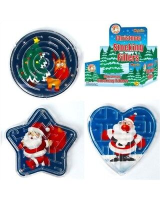 3 Plastic Christmas Maze Puzzles Stocking Party Bag Filler Gift Toy Girl or Boy