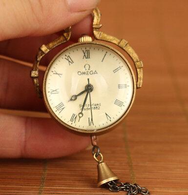 China Old Copper Collection Hand Carved Statue Mechaanical Pocket Watch + chain
