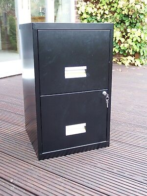 Office Filing Cabinet; Black Metal; two drawers; lockable; excellent condition.