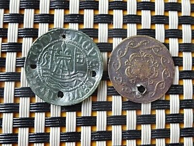 Lot Of 2 Authentic Medieval Europeen Tokens With Holes