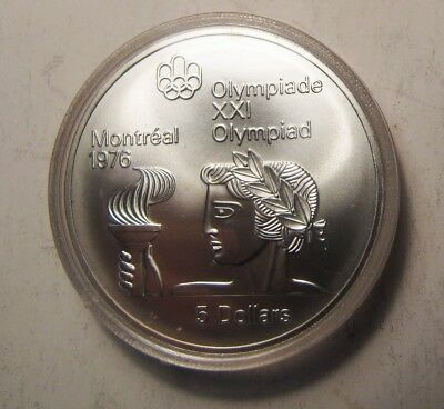 """Canadian Silver $5 Montreal Olympic """"Athlete with a Torch"""""""