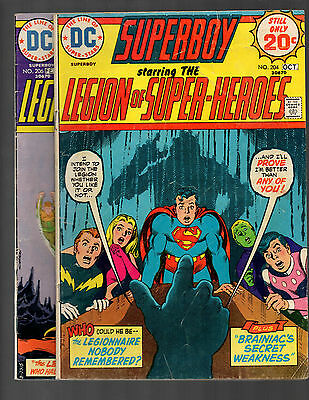 Superboy Legion of Super Heroes # 204 & 206 Brainiac Supergirl VG/FN to FN