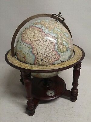 "Beautiful Style Desk 12"" World Globe W/compass Wooden Stand"