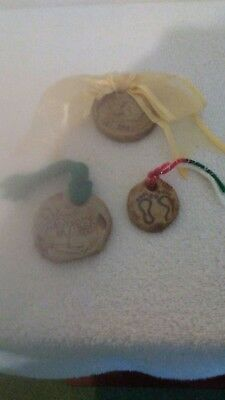 Holly Hill Pottery Art Ornaments Lot of 3  Signed Stokes