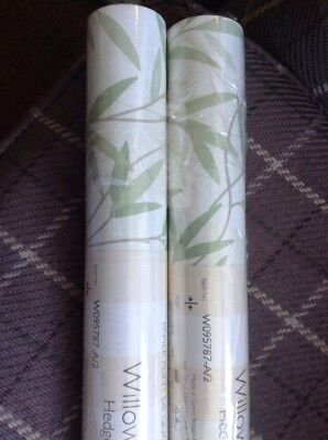 Laura Ashley Wallpaper -2rolls - Willow Leaf In Hedgerow