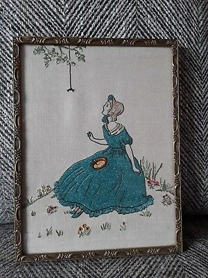 Vintage 1930s hand embroidered Crinoline Lady nursery rhyme picture embroidery