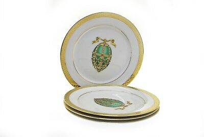 Gold Buffet Royal Gallery 1991 Green Faberge Egg Gold Trim Plates - Set of 4