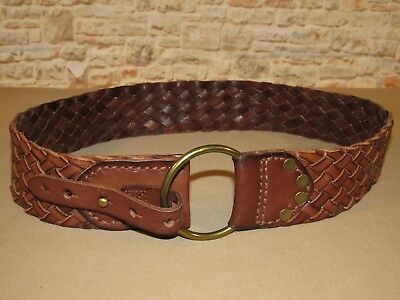 Abercrombie & Fitch Braided Wide Brown Leather Dress Skirt Belt Size L / XL