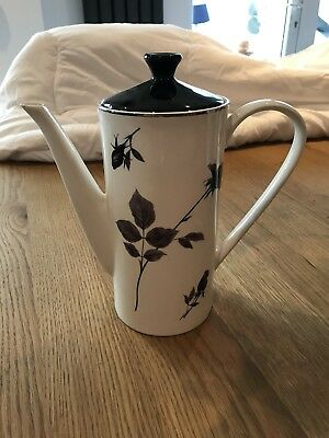 vintage retro Lord Nelson Pottery Black Rose Large Coffee Pot In Super Condition