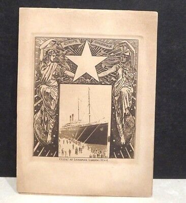1905 S.S. Celtic RMS Cruise Ship Menu Liverpool Landing Cover Photo White Star