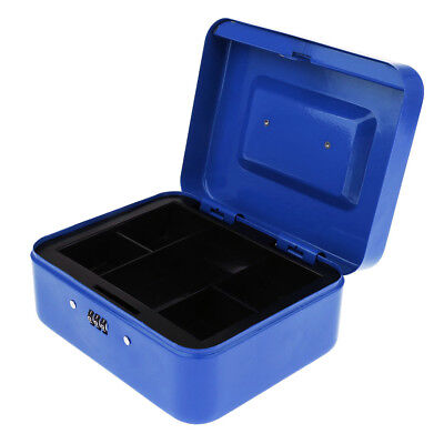 Small Metal Cash Box with Combination Lock for Children Kids Xmas Gift Blue