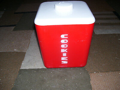Vintage Red 60's Lustro Ware No. 113 Plastic Cookie Jar Canister Square