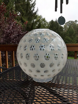 Excellent Large VINTAGE OPALESCENT and Clear Glass Ball Shade