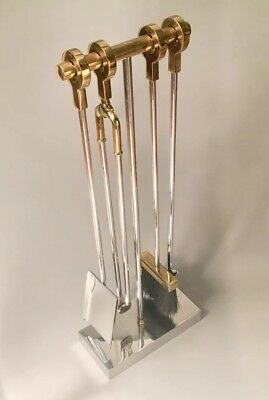 Vintage Chrome & Brass Fireplace Tools by Danny Allesandro c.1970's MCM