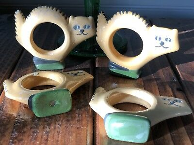 Vintage Ceramic Cat Napkin Rings #1051