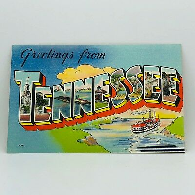Postcard Greetings from Tennessee Passenger Cruise Ship Buildings Linen B-31d