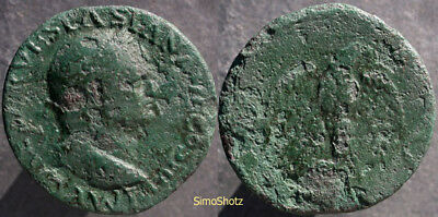 Ancient Roman Coin - Bronze As of Vespasian - Lugdunum Mint - Eagle Reverse