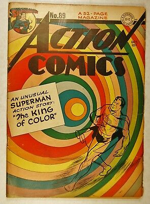 """Action Comics #89 (Oct 1945, DC) Classic Cover """"The King of Color"""""""