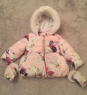 Ted Baker Girls Pink Floral Padded Jacket Age 18-24 Months