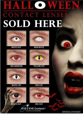 Eye Contact Lenses Halloween Party Cosplay Fancy Dress Costume Devil Zombie UK