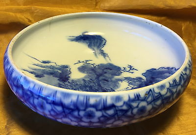 "Antique 10"" Japanese Blue/White Landscape Scene Bowl w Flowers/Foot & Signed"