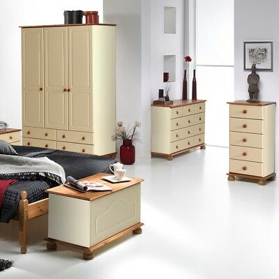 Copenhagen Cream and Pine Bedroom Furniture 2 Door 2 Drawer Small Combi Wardrobe