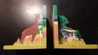 Beautiful Pair Of Wooden Bookends With Giraffe & Zebra. Hand Painted