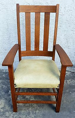 Vintage SIGNED LIMBERT Arts & Crafts Mission TALL Chair Tiger Oak ARMCHAIR