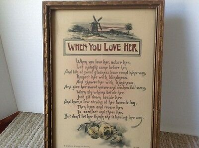 """Motto Poem Print, """"When You Love Her""""; Reinthal & Newman, N.Y.  No. 105; undated"""