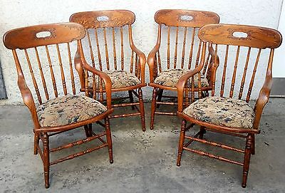 4 American Oak Bankers Office Saloon Courthouse Dining ARMCHAIRS ARM CHAIR Set