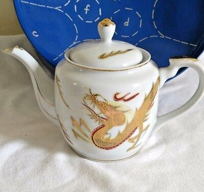 Kutani Japanese Tea Pot with Lid white Hand Painted Dragonware gold guilded