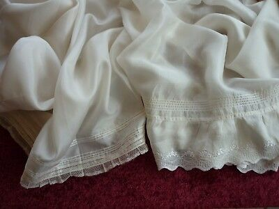TWO Vintage Long Ivory Silk Baby Petticoats Lace Trim.
