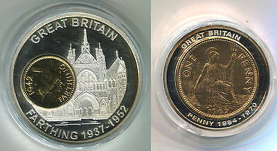 """Great Britain 2 Commemorative Big Silver Medals Penny & Farthing """"bimetal"""" Proof"""