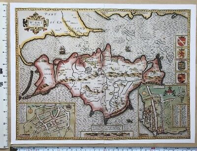 Old Tudor map of Isle of Wight, England: John Speed 1600's, Southampton Reprint