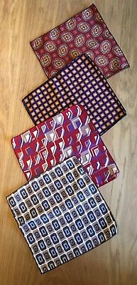 Four Vintage Small Gents Handkerchief Acetate Like Silk