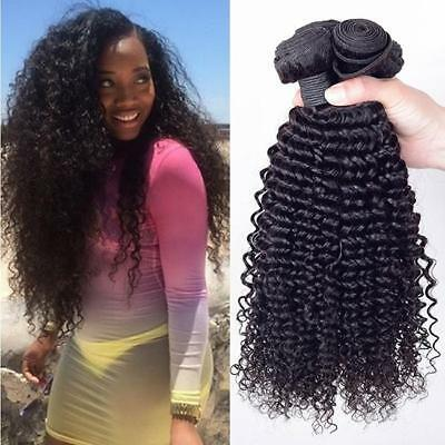Long Afro Kinky Straight Synthetic Hair Weave Weft Curly Hair Extensions 6A