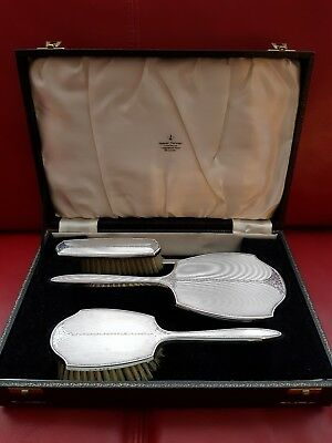 Vintage Solid Silver Brush And Mirror Set In Fitted Box. Engine Turned.