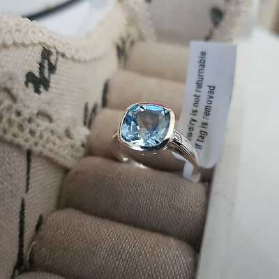 Stunning Sky Blue Topaz solitaire ring in Sterling Silver
