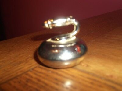 Vintage Small Solid Brass Curling Stone Paperweight