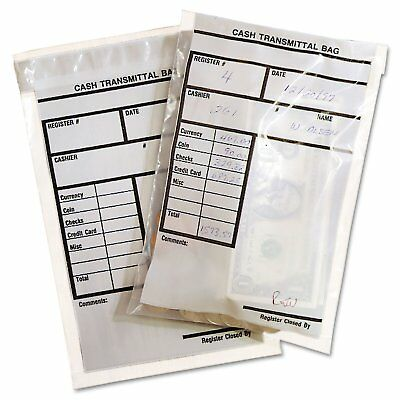 MMF Industries Cash Transmittal Bags Self-Sealing 6 x 9 Clear 500 Bags/Box