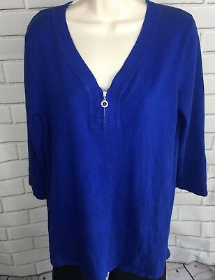 Cable & Gauge Women's Sweater Size Large Royal Blue Pullove V-neck Zip D4