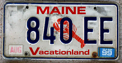 """Maine """"Lobster"""" License Plate """"Vacationland"""" with a 1999 Sticker"""