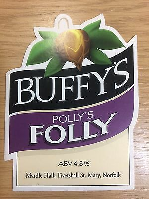 Polly's Folly Ale Beer Pump Clip Buffy's Brewery Norfolk 1995 CAMRA RunnerUp