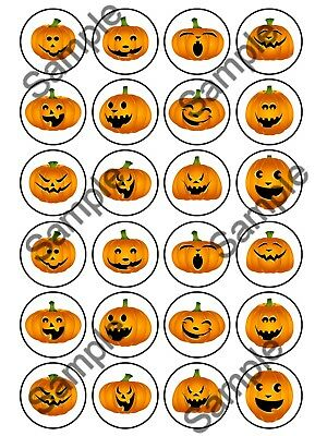HALLOWEEN Edible Personalised Cupcake Cake Muffin Toppers Party Birthday Gift