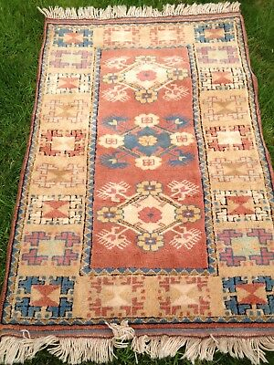 Persian wool rug 118cm x 82cm natural dyed hand-made muted colours beige/brown